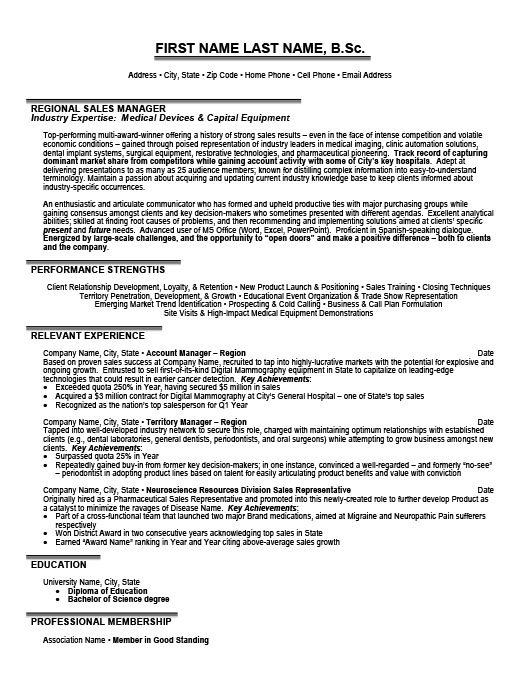 regional sales manager - Sample Resume Format For Experienced Sales Manager