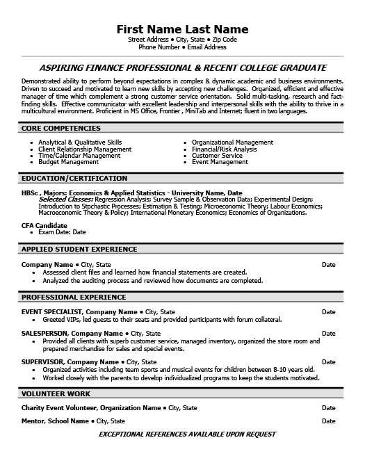 Resume Templates 101  Cfa Candidate Resume