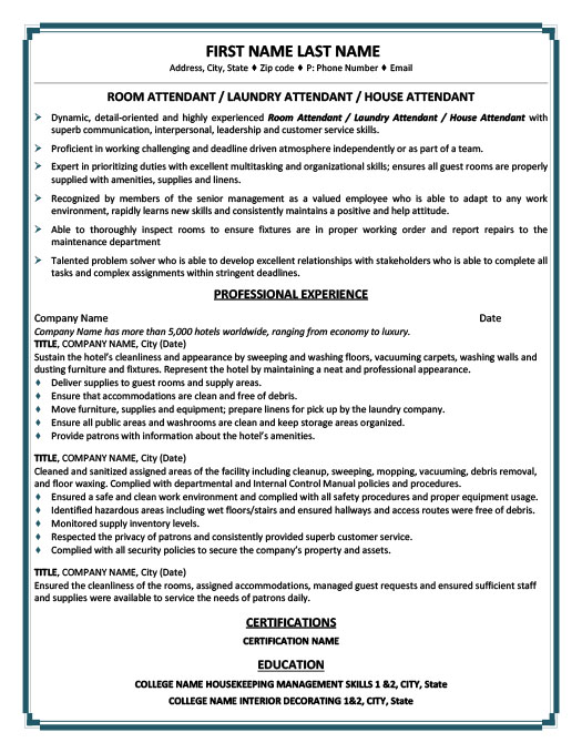 Beautiful Room Or Laundry Or House Attendant Resume