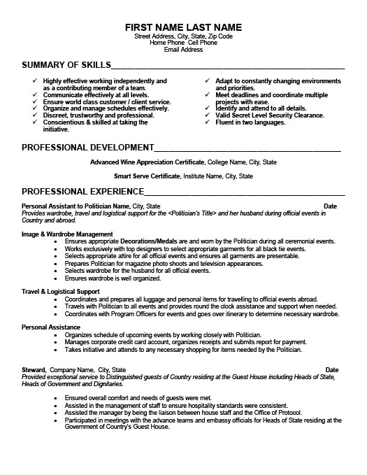 personal assistant resume ideas collection household