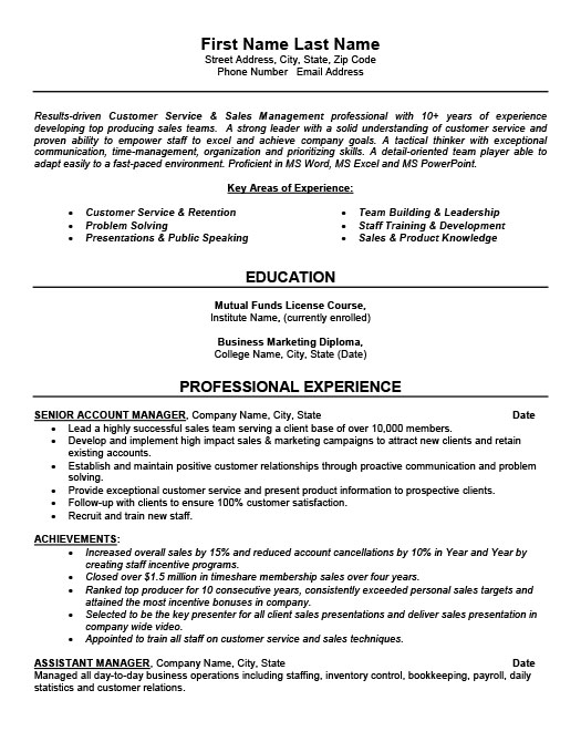 Senior Account Manager Resume  Key Account Manager Resume