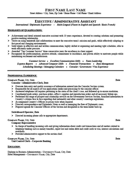 Consular or administrative assistant resume template for Consul templates
