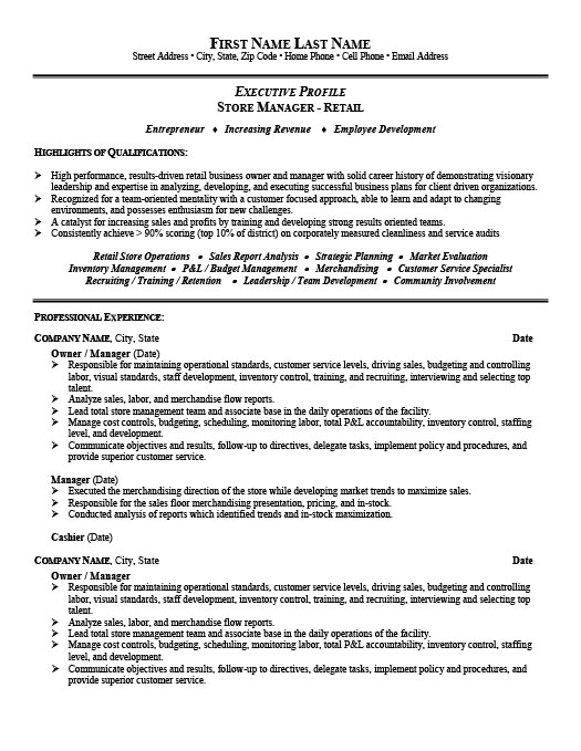 store manager or owner resume - Retail Store Manager Resume Examples
