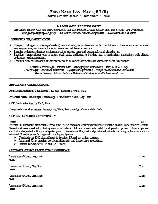 radiologic technologist resume - Radiologic Technologist Resume Sample