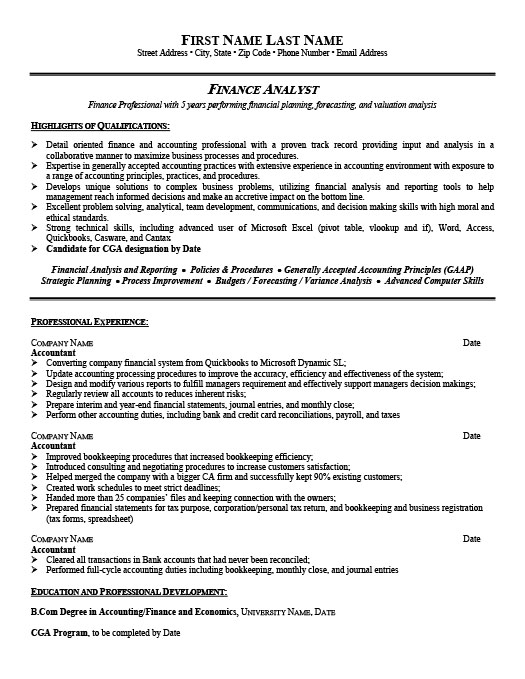 financial analyst resume - Sample Resume Finance