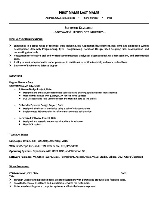 Software Developer Resume Template  Premium Resume Samples  Example