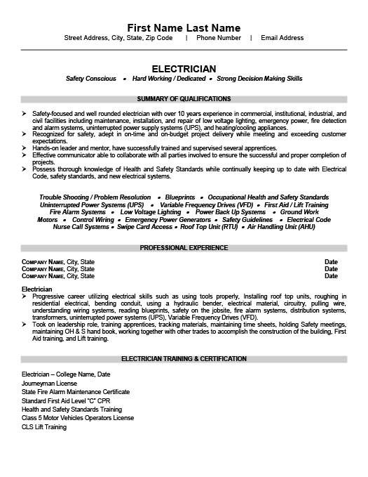 Resume Templates 101  Electrician Resume Templates