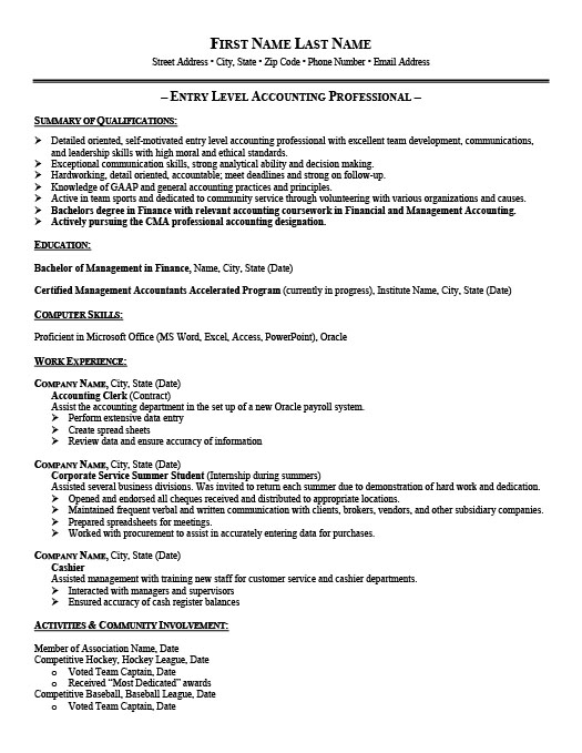 entry level accountant resume - Entry Level Accounting Resume