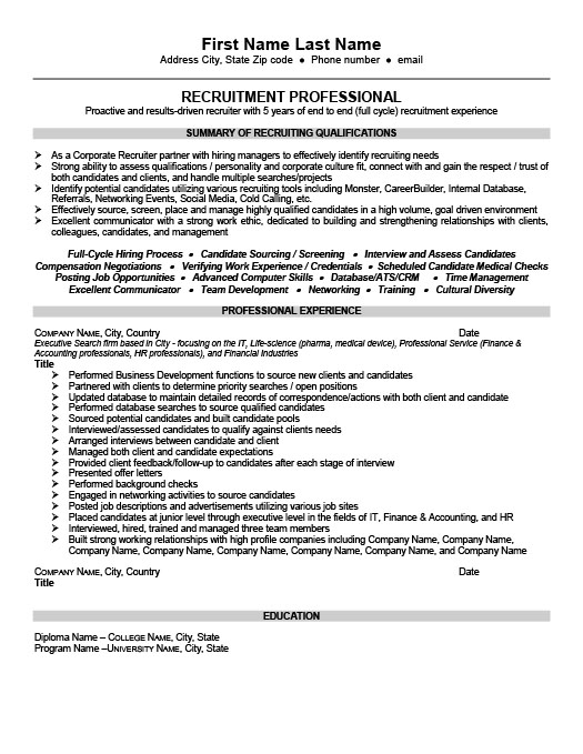 senior recruiter or consultant professionalresume template - Recruiting Resume Sample