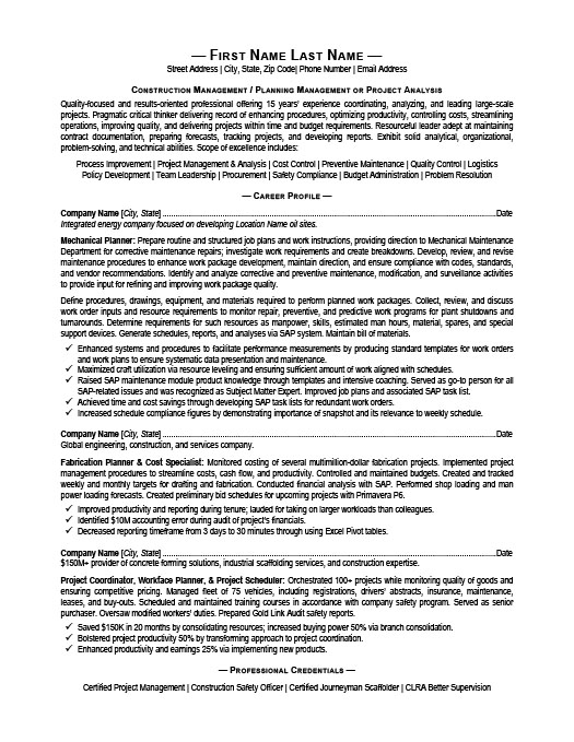 Construction Manager Resume Template | Premium Resume Samples & Example