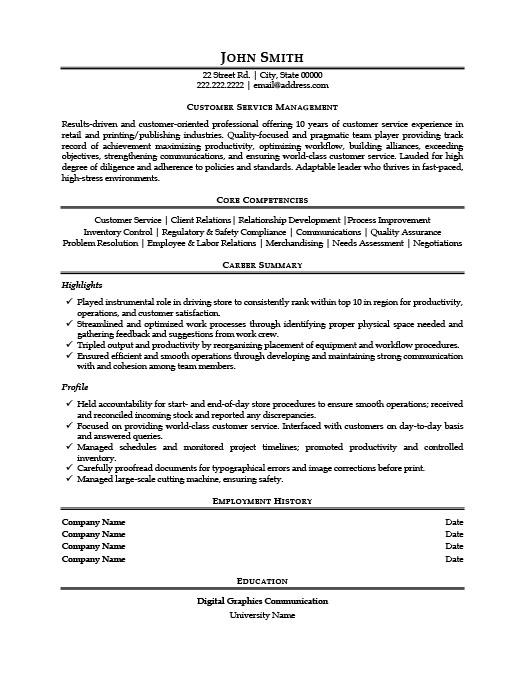 Customer Service Manager Resume  Customer Service Resume