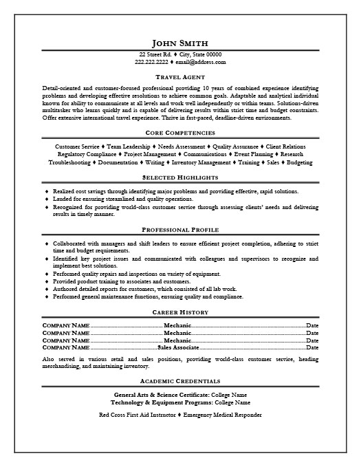 Travel Agent. Professional Resume ...  Transportation Resume