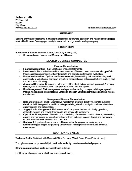 Superb Recent Graduate Resume For Resume Recent Graduate