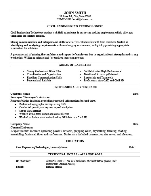 Civil Engineer Technologist Resume  Civil Engineering Resume Examples