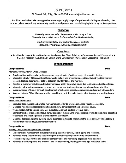 marketing intern resume - Resume For Internship Template