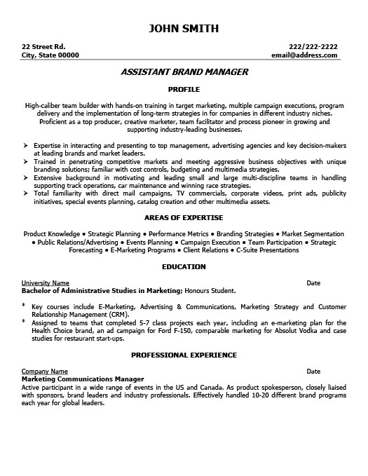 Assistant brand manager resume template premium resume for Brand management cover letter
