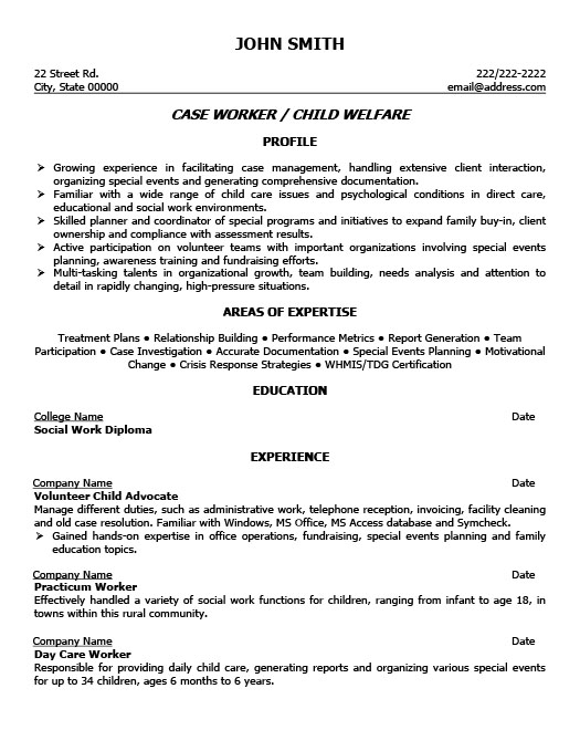 Case Worker Sample Resume
