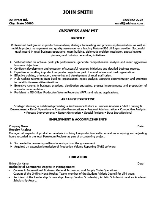 business analyst resume - Business Analyst Resume Format