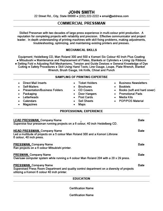 commercial pressman resume template