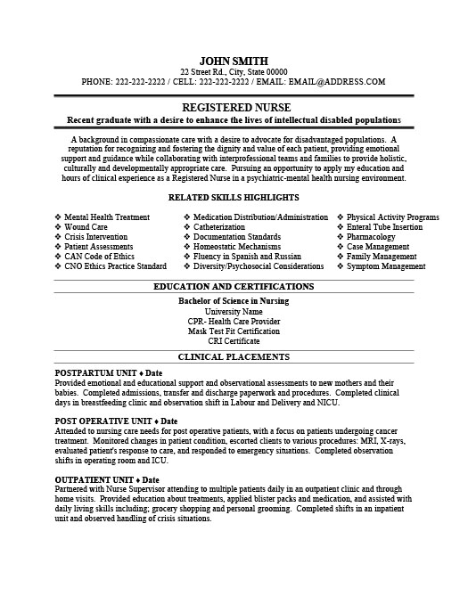 Registered Nurse Resume  Postpartum Nurse Resume