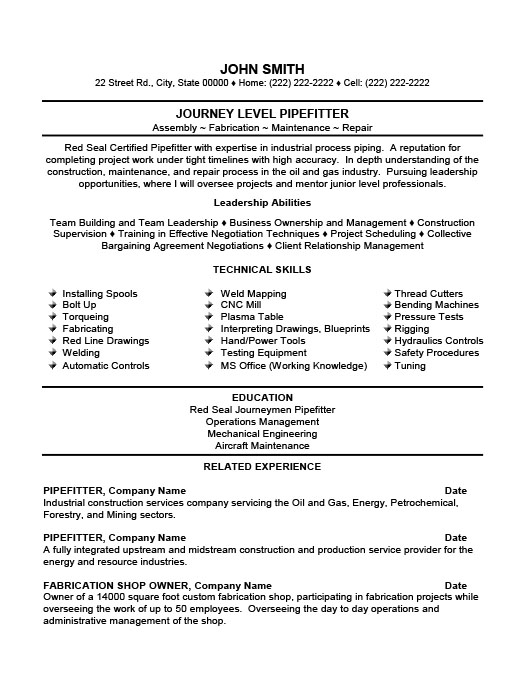 journey level pipefitter resume