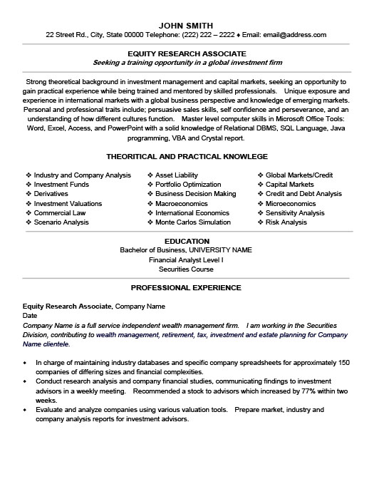 equity research associate - Sample Resume