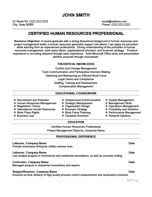 Human Resources Resume Templates Samples Examples Resume