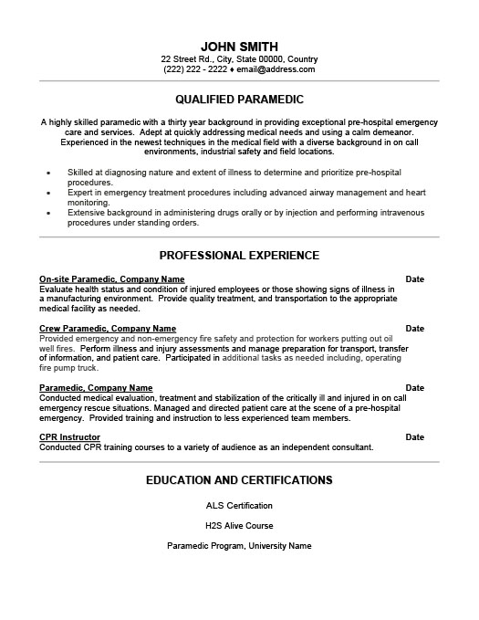 Qualified Paramedic Resume