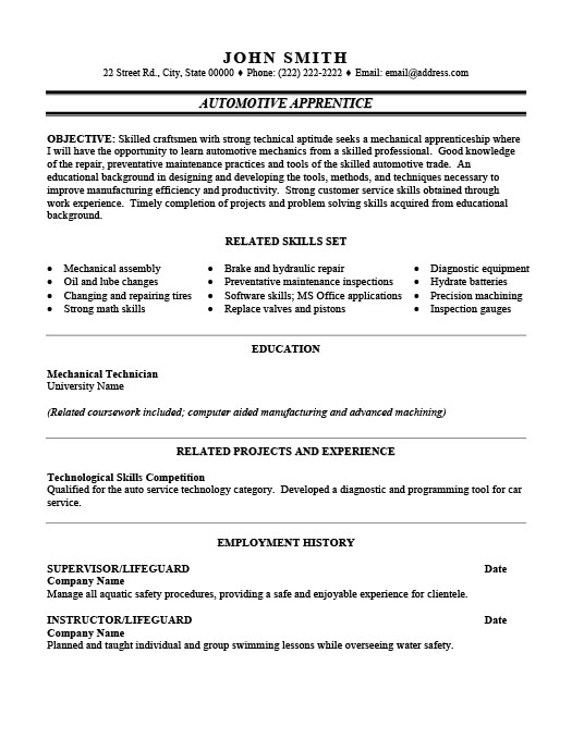 Automotive Apprentice Resume  Resume For Auto Mechanic