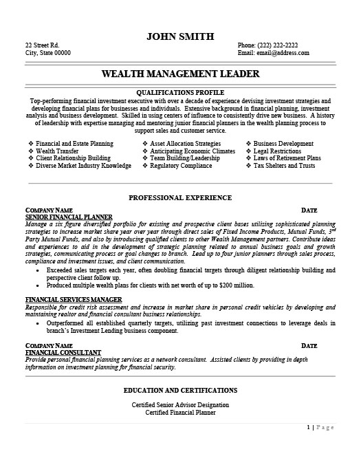 Wealth Management Leader Resume