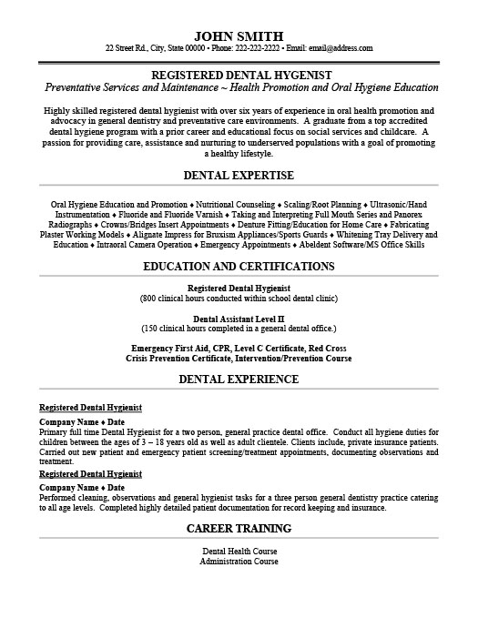registered dental hygienist resume - Dental Hygiene Resume Template
