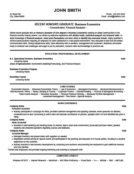 financial analyst studentresume template - Resume Outline Example
