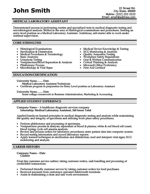 medical laboratory assistant resume - Sample Resume For Laboratory Technician