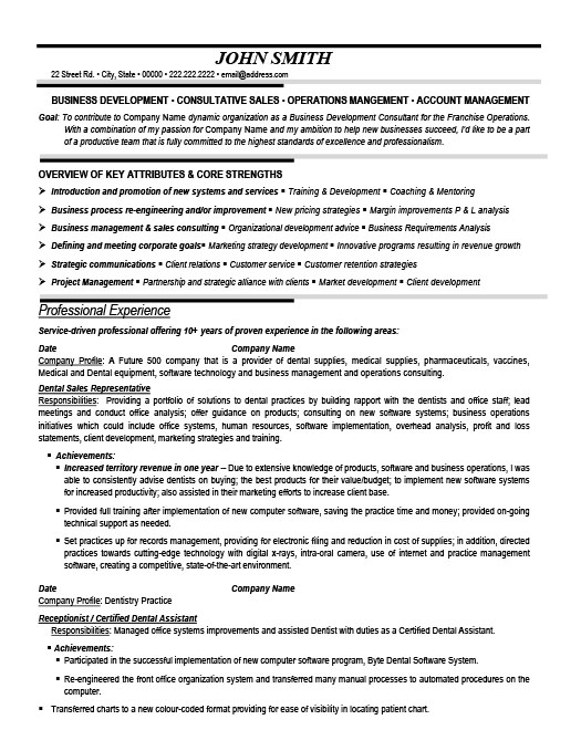 Superb Dental Sales Representative Resume