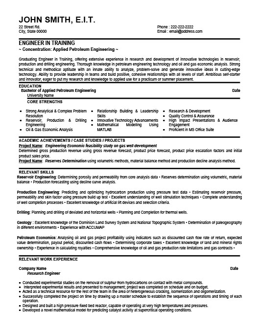 Training Engineer Resume