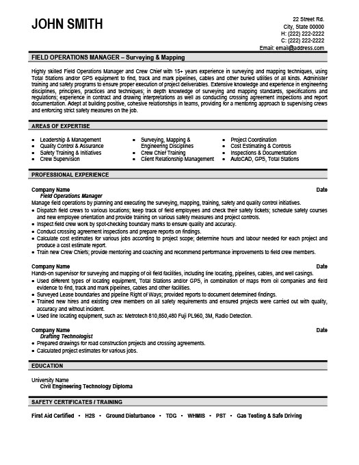 field operations manager resume - Operations Manager Sample Resume