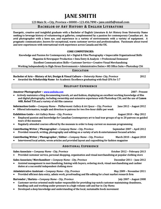 Constructing resume college