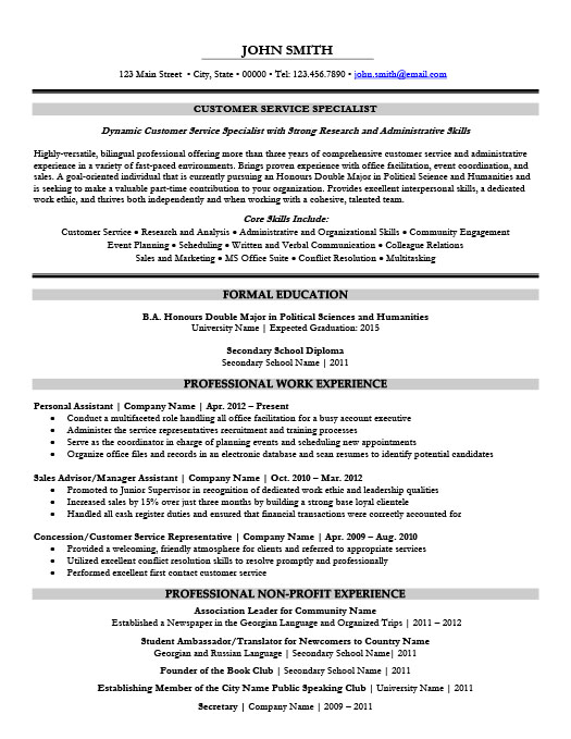 Customer Service Specialist Resume  Sample Resume For Customer Service Rep