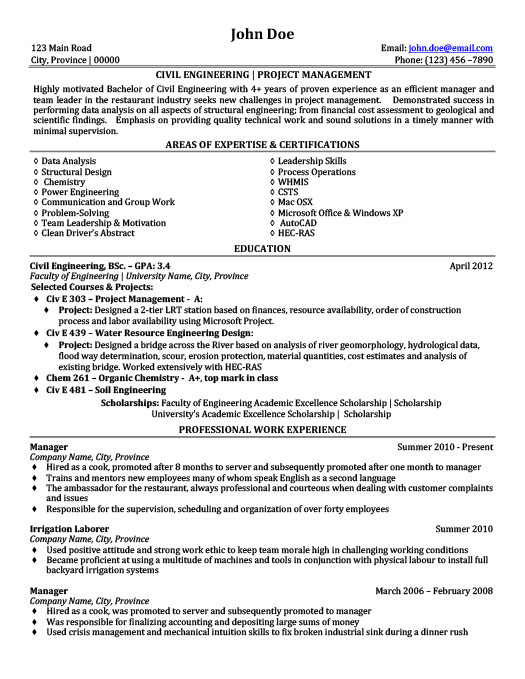 civil engineering project management resume - Sample Resume Of Engineering Project Manager