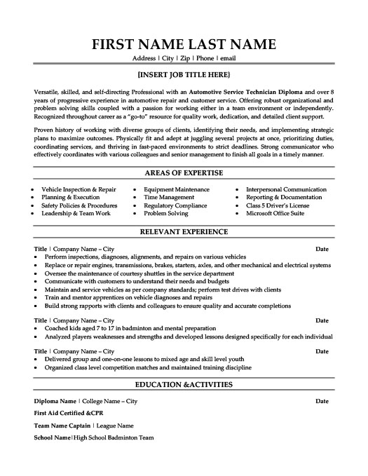resume for auto mechanic sample resume resume template automotive - Resume Sample Service Technician