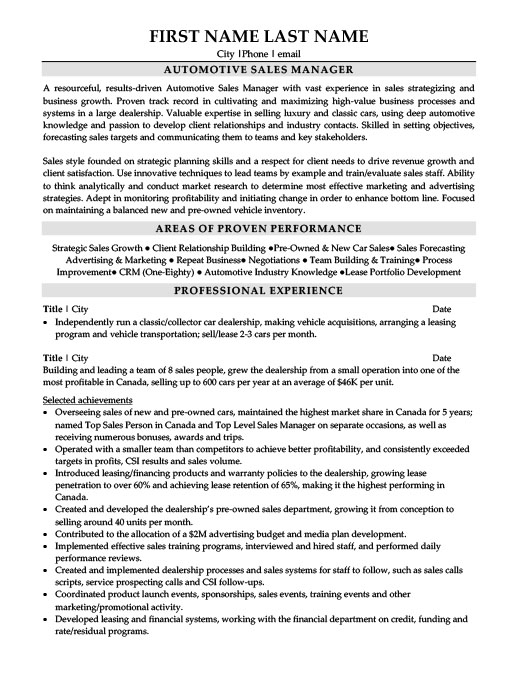 automotive sales manager resume template