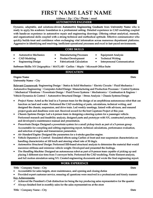Automotive Engineer Resume