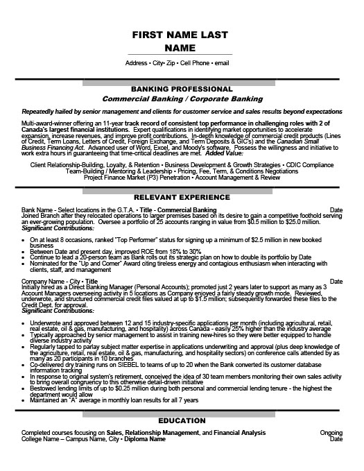 commercial banking corporate banking resume template