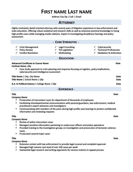 Attorney Resume Template