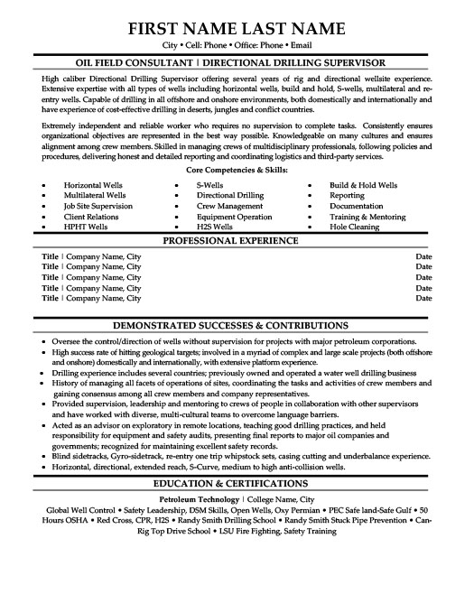 Directional Drilling Supervisor  Oil And Gas Resume