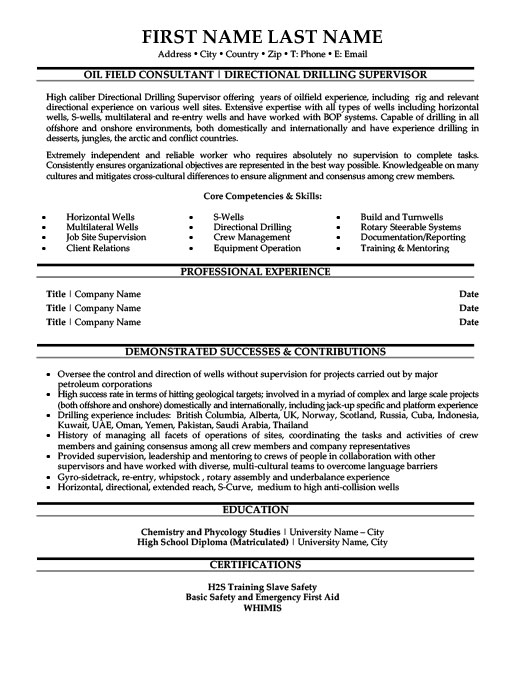 oil field consultant resume template
