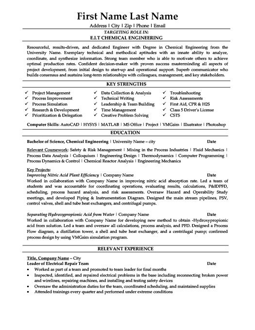 Captivating Chemical Engineer Resume