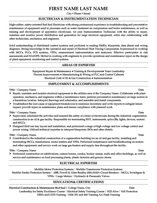 Electrician & Instrumentation Technician Resume Template | Premium ...